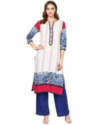 Cotton Off White Embroidered Kurta
