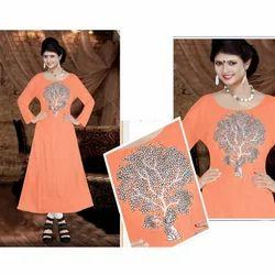 Orange Embroidered Ladies Kurti