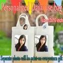 White Printed Personalized Photo Bag, For Gifting, Size: 12x16 Inches