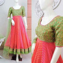 Green And Pink Party Wear Ladies Lucknowi Suit