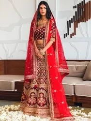 Women's Heavy Embroidery Red Bridal Lehenga By Parvati Fabric (76646)