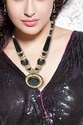 Gold Plated Jewellery Mangalsutra Black Pendant Necklace with Chain
