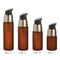 Brown SSG89 Glass Bottle With Pump, Round, Capacity: 25 Ml