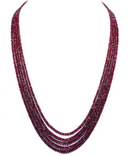 Natural Ruby Beads Necklace With 925 Sterling Silver Claps