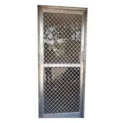 Silver Polished Aluminium Mesh Door, For Office