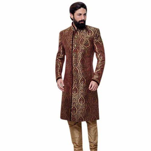 b3dadb1a3d Wedding Tussar Silk Mens Sherwani, Rs 12000 /piece, RS Infotech   ID ...