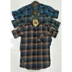 Collar Neck Cotton Check Shirt, Size: S, M, Xl