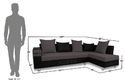 Adorn India Adillac Corner Sofa (Grey & Black)