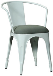White Mild Steel Kernig Kraft Metal Stackable Cafe Restaurant Chair, Size: 18'' Sitting Height
