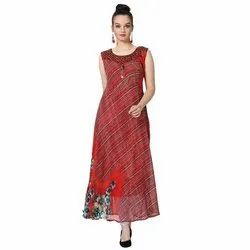 LKAAAF-16A Round Neck Georgette Ladies Kurti