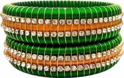 Green And Golden Handmade Thread Silk Bangle Set