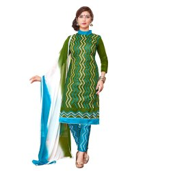Green Colored Cambric Cotton Unstitched Salwar Suit