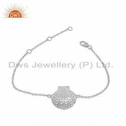 Hammered 925 Sterling Fine Silver Sea Shell Designer Chain Bracelet