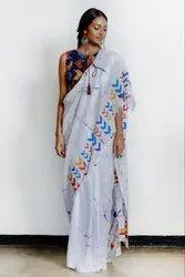 Screen Printed Malmal Cotton Saree With Blouse