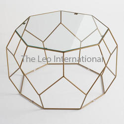 Designer shape metal frame glass top coffee Table