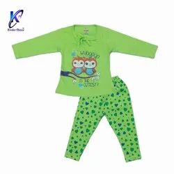 Owl Printed Top With Pant for Baby Girls