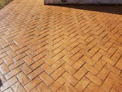Herringbone Brick Pattern Stamp Concrete Flooring