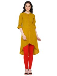 Yash Gallery Women's Cotton Slub Asymmetrical Hemline Kurta