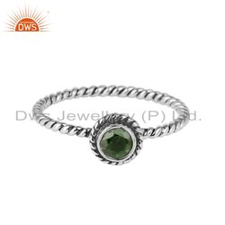 Chrome Diopside Antique Oxidized Silver Ring Jewelry