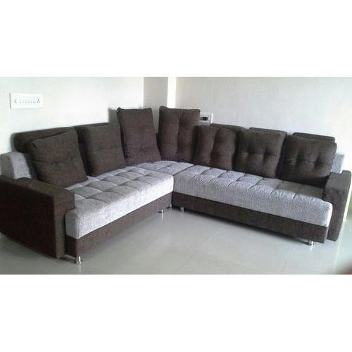Brown White 7 Seater Corner Sofa Set