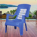 H 800 X W 590 X D 860 Cm Blue And White Pleasure Plus Plastic Chair, Arm Rest: Yes