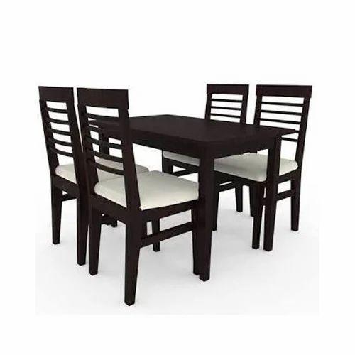 Dark Brown 4 Seater Dining Table Set Wood Furniture Id