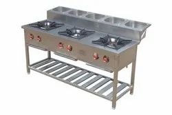 Three Burner Indian Gas Range with GN Pans