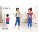 Blue And Red Denim Kids Girls Blue Dungaree