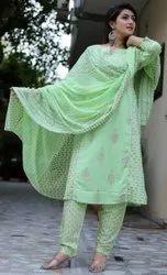 Anarkali Stitched Cotton Ladies Suits, Machine wash