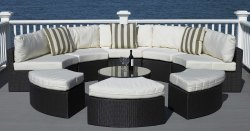 Cane Lines Wicker Cl-071 Terrace Outdoor Half Round Sofa Set, Size: 2850 x 2800 x 700 mm