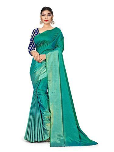 964ab1f58f Multy Bridal Wear Unique Silk Saree with Two Shade Effect & Beautifull  Blouse Piece, Machine