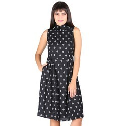 Ladies Rayon Sleeveless Printed Western Short Dress
