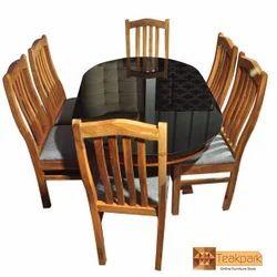 Ganga Solid Oval Teak Wood Dinning Table