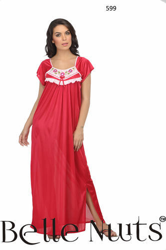 Bell Nuits Long Knee Cut Hand Embroidered Satin Nighty at Rs 599 ... 349b61e2c