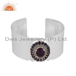 Peridot Natural Amethyst Gemstone Sterling Silver Cuff Bracelet