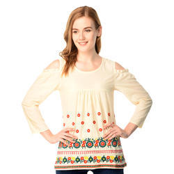 eb811f7c777989 Cotton Round Neck Embroidered Fancy Top