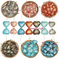 Hand Painted Eco Friendly Paper Mache Hearts Christmas Ornaments Hanging Decoration