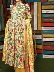 Yellow Cotton Designer Printed Suit