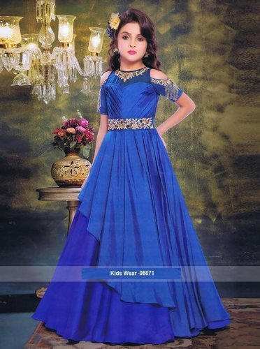 c60c6c0da0 Wedding Wear Kids Dress Beautiful Designer Royal Blue Paper Silk Kids Party Wear  Gown