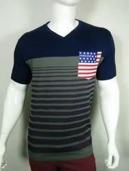Mens V Neck Pocket Printed T Shirt