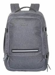 Husker Nylon Business Travel Backpack Laptop Bag with USB Port - Grey