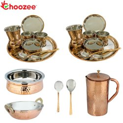 Choozee - Stainless Steel Copper Thali Dinner Set with Serveware & Hammered Pitcher Jug and Matka Gl