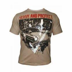 XL Round Neck Mens Cotton Printed T Shirts