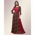 Fidaindia Maroon Rayon Printed Floor Length Gown, Size: Xxl