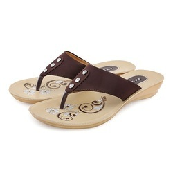 PU-SPM Women P NS Brown Ladies Slipper, Size: 7 and 8 and 9