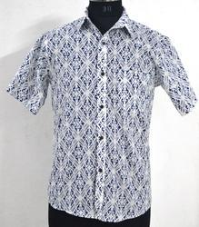 Hand Block Printed Cotton Shirt Mens Fabric