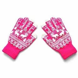 Pink Printed Cotton Knitted Gloves