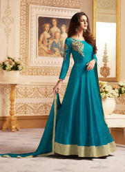 Women Ready Made Blue Banglori Anarkali Suit, Size: S-XXL