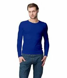 Men''s Cotton Slim Fit Full Sleeves Round Neck Tshirts For Casual Wear
