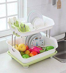 Plastic Kitchen 2 Layers Dish Drainer Rack 225